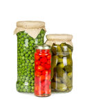 Canned vegetables in glass jars Stock Photography
