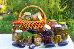Canned vegetables outdoors Royalty Free Stock Photography