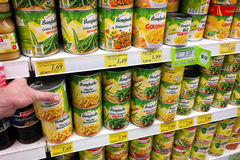 Canned vegetables in a Store. GERMANY - JULY 2017: Shelves filled with Bonduelle can food products in a REWE supermarket in Germany stock image