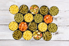 Canned Veggies Wood Table Royalty Free Stock Photo
