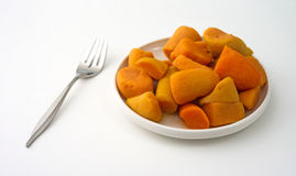 Canned yams on plate with fork Stock Photography