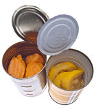 Canned Yams and Squash. In Cans Isolated on White with a Clipping Path Royalty Free Stock Photos