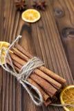Cannella, arance secche ed anice Immagini Stock