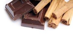 Cannella con cioccolato Immagini Stock Libere da Diritti