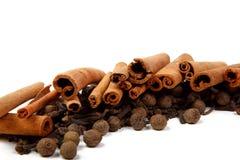 Cannella e pepe del chiodo di garofano Fotografie Stock Libere da Diritti