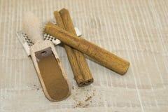 Cannella in un cucchiaio di legno Immagini Stock