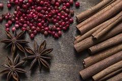 Cannelle, anis d'étoile et poivron rouge Image stock