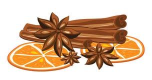 Cannelle, anis et orange sur un fond blanc illustration libre de droits