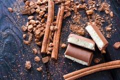 Cannelle, cacao et chocolat aéré Photographie stock libre de droits