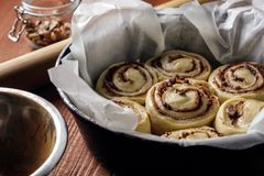 Cannelle Rolls Petits pains de cannelle fraîchement cuits au four avec les épices et le cacao remplissant sur le papier parchemin image stock