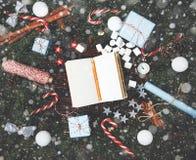 Cannelle v de cône de pin de branches de sapin de composition en nouvelle année de Noël Photos libres de droits