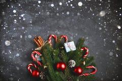 Cannelle v de cône de pin de branches de sapin de composition en nouvelle année de Noël Image libre de droits