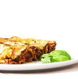 Cannelloni. With tomato sauce and basil Stock Image