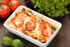 Cannelloni baked in a roasting pan Royalty Free Stock Images