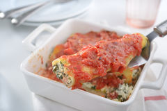 Cannelloni on a cake server Royalty Free Stock Photos