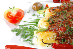 Cannelloni with cheese on square Stock Photos