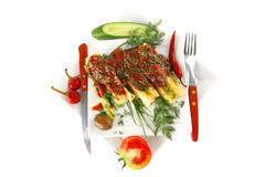 Cannelloni with cheese on square Royalty Free Stock Images
