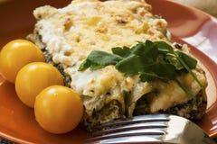 Cannelloni con la ricotta e spinaci sul piatto Fotografia Stock