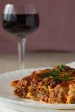 Cannelloni da carne e vidro do vinho Foto de Stock Royalty Free