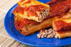 Cannelloni italiano con la carne de cerdo Fotos de archivo libres de regalías