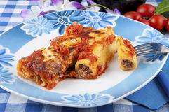 Cannelloni with meat sauce Stock Image