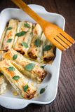 Cannelloni with mincemeat and bachamel Royalty Free Stock Photos
