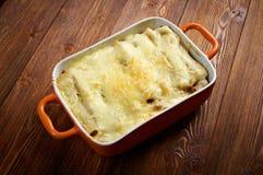 Cannelloni mit Rindfleisch Stockfotos