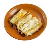 Cannelloni mit Rindfleisch Lizenzfreies Stockfoto