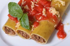 Cannelloni pasta with meat, tomato sauce top view Royalty Free Stock Image