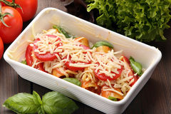 Cannelloni prepare to bake in a roasting pan Royalty Free Stock Image