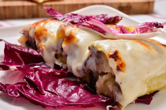 Cannelloni with radicchio and Taleggio cheese fondue Royalty Free Stock Image