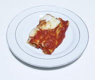 Cannelloni. Real Italian cannelloni on a white plate Royalty Free Stock Image