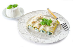 Cannelloni with ricotta and spinach Royalty Free Stock Image