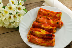 Cannelloni with ricotta and spinach Stock Photos