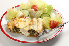 Cannelloni and salad Royalty Free Stock Images