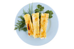 Cannelloni served with greenery Royalty Free Stock Photo