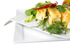 Cannelloni served with greenery on Stock Image