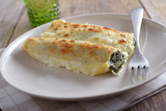Cannelloni with spinach Stock Photo