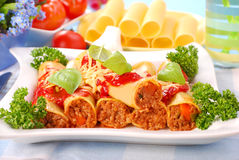 Cannelloni stuffed with minced meat Stock Photography