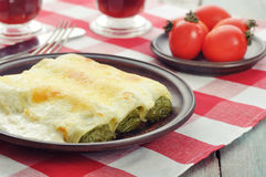 Cannelloni stuffed with spinach Stock Image