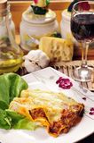 Cannelloni, Wine, and Cheese Stock Image