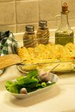 Cannelloni z ricotta i szpinakiem karmowy włoski tradycyjny carpaccio kuchni doskonale stylu życia, jedzenie luksus włoski Zdjęcia Stock