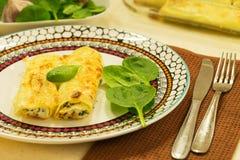 Cannelloni z ricotta i szpinakiem karmowy włoski tradycyjny carpaccio kuchni doskonale stylu życia, jedzenie luksus włoski Zdjęcia Royalty Free
