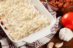 Cannellonien die met vlees worden gevuld dat in een braadpanschotel wordt gekookt klaar FO stock fotografie