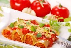Canneloni met vlees Stock Foto