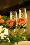 Cannelures de champagne de mariage Images stock