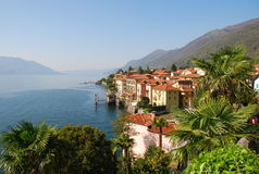 Cannero Riviera at Lago Maggiore, Italy. Spring light on Lake Maggiore. Cannero Riviera lakeside resort, Italy royalty free stock photography