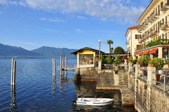 Cannero Riviera lakefront promenade, Lake (lago) Maggiore, Italy. Royalty Free Stock Photo
