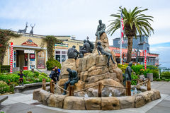 The Cannery Row Monument Monterey California. MONTEREY, CA - DEC 17, 2014: The Cannery Row Monument, a tourist attraction featuring literary Nobel Prize winner royalty free stock photos