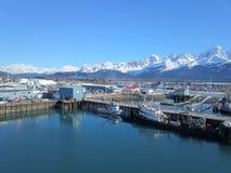 Fishing boats at docks in Alaska stock photo